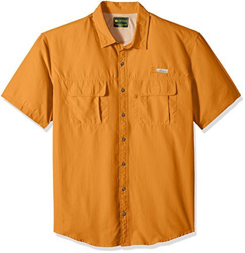 Cotton Short Sleeve Fishing Shirt (G.H. Bass & Co. Men's Big and Tall Explorer Short Sleeve Point Collar Fishing Shirt, 3X-Large Big, Orange Harvest)