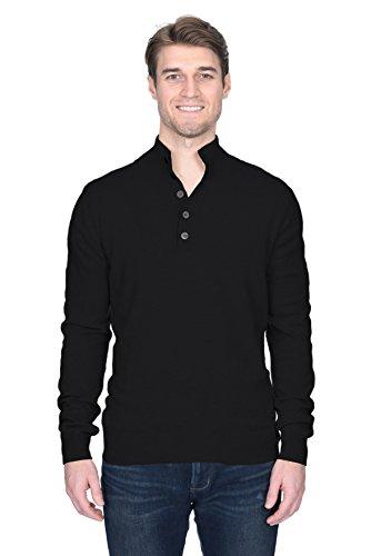 State Fusio Men's Cashmere Wool Button Mock-Neck Classical Fashion Polo Collar Sweater Pullover Black ()
