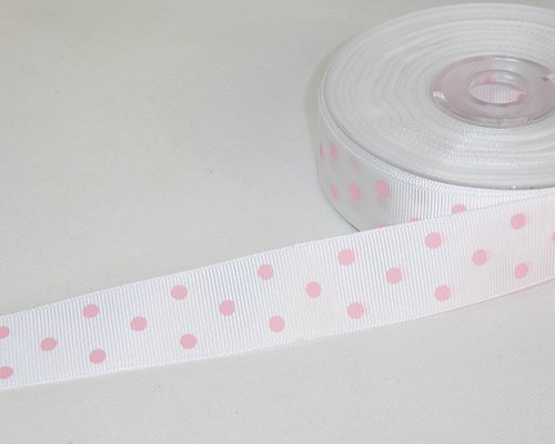 Nastri in tessuto grein grosgrain ribbon dots mm 25 mt20 white pink