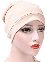 Women India Hat Muslim Ruffle Hat Beanie Scarf Turban Head Wrap Cap for Chemo,Cancer Patients