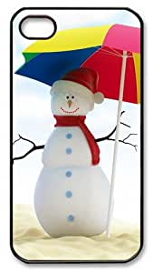 iPhone 4S Case and Cover -Summer Snowman PC case Cover for iPhone 4 and iPhone 4s ¨CBlack