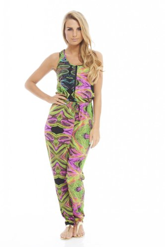 AX Paris Women's Multi Printed Zip Front Jumpsuit(Green, Size:8)