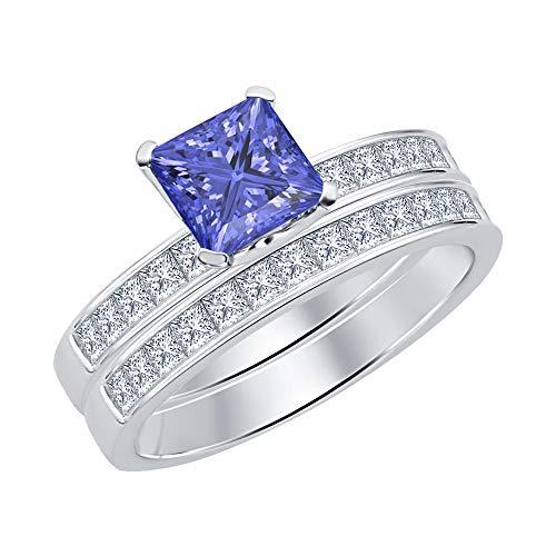 (tusakha 8mm Princess Cut Tanzanite & White CZ Diamond 18K White Gold Over .925 Sterling Silver Women's Engagememt Band Wedding Promise Bridal Ring Set)