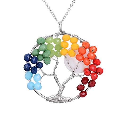 - Colorful 7 Chakra Crystal Beads Enamel Rose Flower Tree Of Life Pendant Necklace Handmade Boho Women Layered Necklace Rainbow