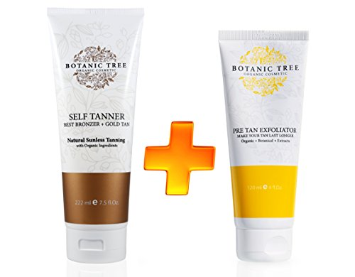 Botanic Tree Self Tanner 7.5 Oz and Pre Tan Exfoliator, Natural and Organic Ingredients Self Tanning Lotion for Body and Face-All Skin Types (Pack of 2) w/Avocado,Apricot,Coconut,Jojoba,Moringa. (Body Lotion Natural Apricot)