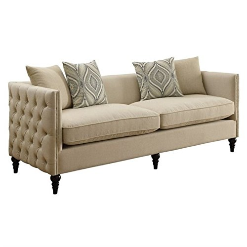 Bowery Hill Tufted Fabric Sofa in Beige