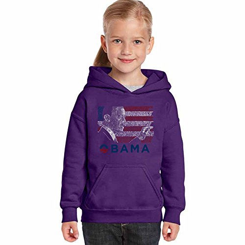 LA POP ART Girl's Word Art Hooded Sweatshirt - Barack Obama - All Lyrics to America The Beautiful Purple Barack Obama Hooded Sweatshirt