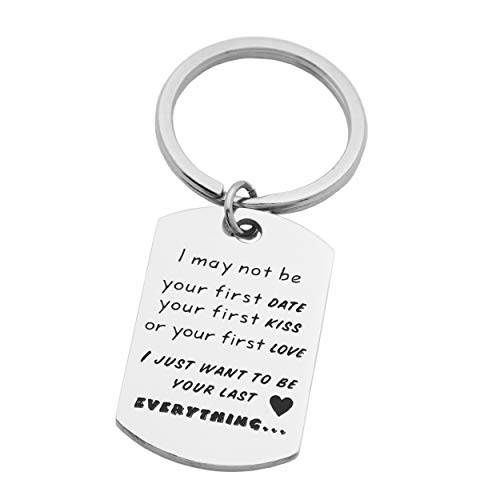 Kingmaruo Boyfriend Gift Mens Keychain Stainless Steel Dog Tag Keyring Husband Gift for Him (I Just Want to Be Your Last - Pendant Boy Kiss