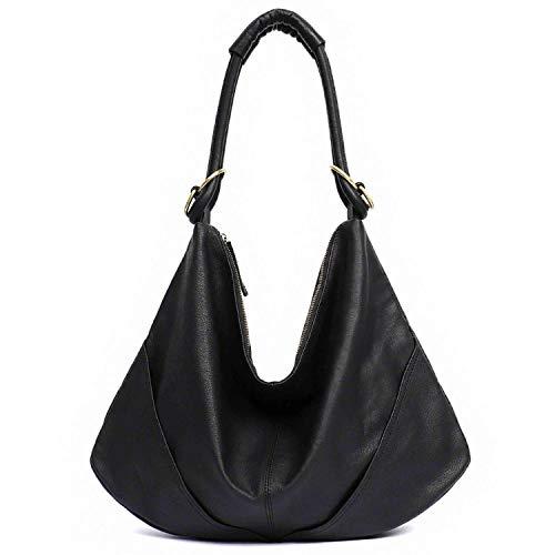 Soft Leather Women's Handbag Ladies Shoulder Bags Purse Black Brown Female Large Luxury Totes,BLACK ()