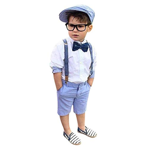 - terbklf Toddler Kids Baby Boys Classical Outfit Clothes Bow Tie Shirt+Bib Overalls Shorts Pants Gentleman Party Suit Blue
