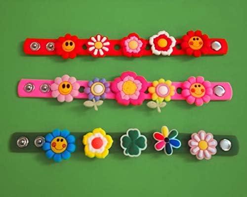 3 x 18 cm Silikon-Armbänder – + 15 Blumen – 2D PVC-Schuh-Anhänger – ähnlich wie Jibbitz und passend für Crocs