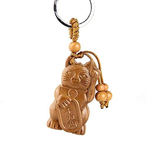 EatingBiting(R)Japanese Lucky Maneki Neko Beckoning Waving Cat Keyring Kerchain Carving Wooden Design Kitten Cat FengShui Key Ring Chain, Holiday 招き猫 ...
