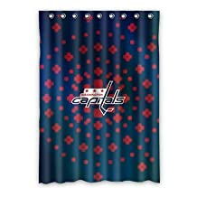 "Custom NHL Washington Capitals Polyester Window Curtain 52""x72"" Hooks one piece For Bedroom"