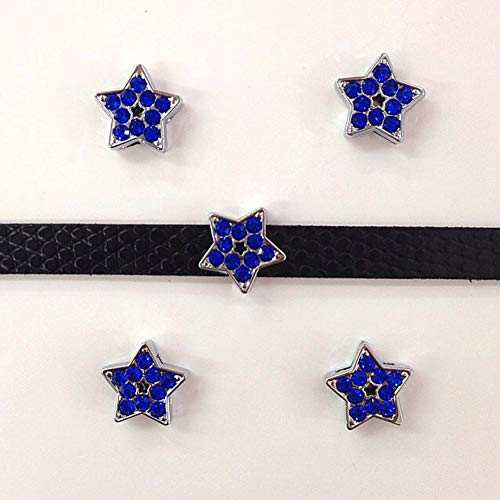Charm Slide Star - Set of 20 Slide Charms 8mm for Jewelry/Crafting/Making Charm Bracelets/Charm Necklaces/Charm Wristbands/DIY Jewelry (Blue Rhinestone Star)
