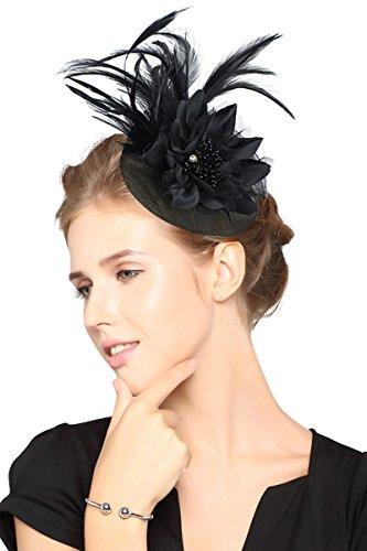 [Z&X Fascinator Lady Girls Feather Floral Beaded Headband Cocktail Headwear Black] (Hats & Fascinators Online)