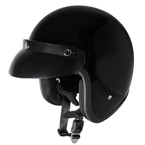 Outlaw Open Face (Outlaw V320 Glossy Black Motorcycle Open Face Helmet -)