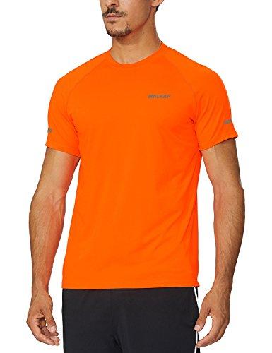 Baleaf Men's Quick Dry Short Sleeve T-Shirt Running Fitness Shirts Orange Size L -
