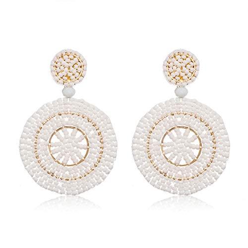 Beads Pair Disc - CEALXHENY Beaded Drop Earrings Handmade Seed Bead Round Dangle Earrings Bohemia Statement Earring Studs for Women Girls (F White)