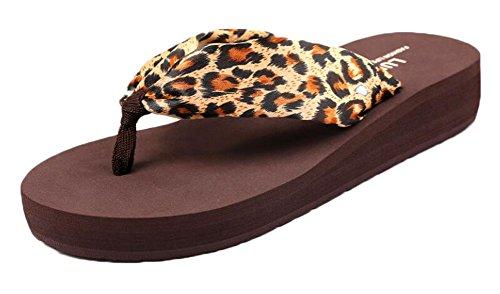 Leopard Kaffee Flip Flops Frauen Schuhe Hausschuhe Sommer