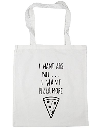 HippoWarehouse I want ABS pero I Want Pizza más Tote Compras Bolsa de playa 42 cm x38 cm, 10 litros blanco