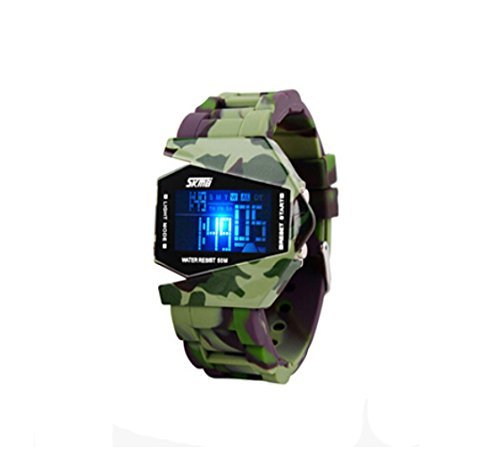 LED Military Cool Water Resist Noctilucent Plane Design Digital Watch for Children Size - Sunnies Cool