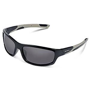 Duduma Polarized Sports Sunglasses for Men Women Baseball Running Cycling Fishing Driving Golf Softball Hiking Sunglasses Unbreakable Frame Du645(Black frame with black lens)