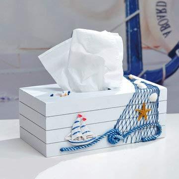 Mediterranean Style Blue And White Tissue Boxes Paper Napkin Box - Decorative Crafts Furnishing Articles - (Sailboat) - 1pcs X Tissue Box]()