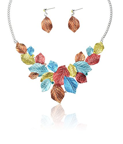 TAGOO Spring Leaf Design Statement Necklace and Drop Earrings Set 16.14