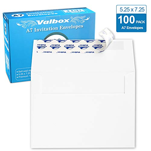 ValBox 100 Pack A7 Invitation Envelopes 5 x 7, White Kraft Paper Envelopes Self Seal for 5x7 Cards, Weddings, Stationery, Baby Shower, Birthday, 5.25 x 7.25 Inches ()