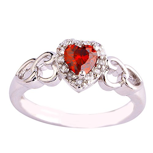 (Empsoul 925 Sterling Silver Natural Novelty Filled Ruby Spinel & White Topaz Heart Shaped Halo Wedding Bridal Ring)