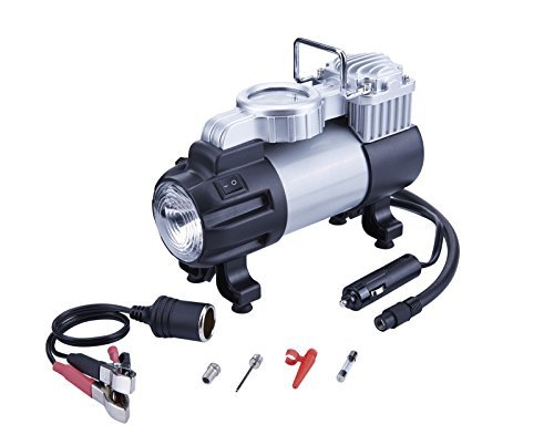 TIREWELL 12V Tire Inflator - Heavy Duty Direct Drive Metal Pump 150PSI, Portable Air Compressor with LED Light and Battery Clamp (Compressor Air Duty Metal Heavy)