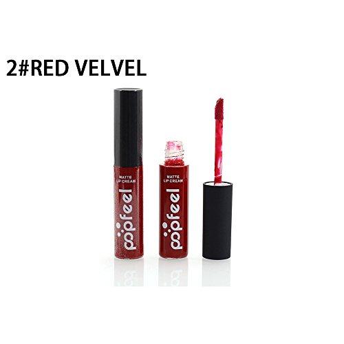 Popfeel Long Lasting Lip Glaze Hosamtel Sexy Waterproof Velvet Matte Lip Gloss Moisturizing Lip Stains Lipstick (12 Fashionable Colors for Choose) (2#)