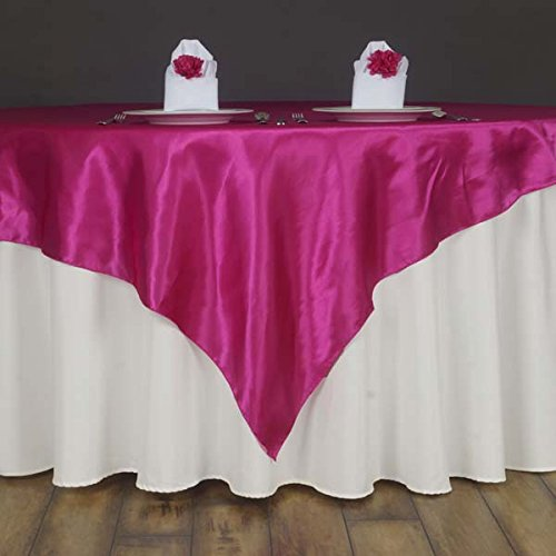 Efavormart 60'' Satin Square Tablecloth Overlay for Wedding Catering Party Table Decorations Fushia Square Tablecloth Cover
