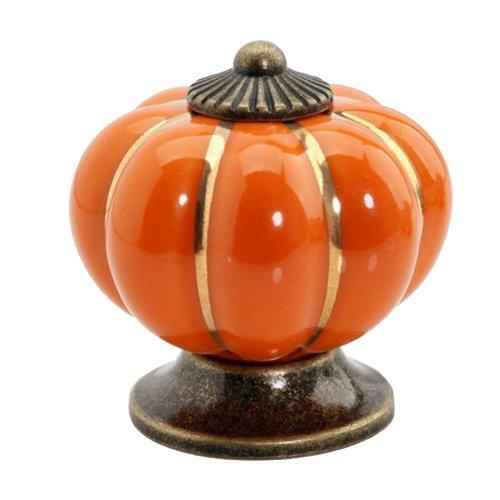 Pumpkin Ceramic Cabinet Drawer Door Pull Knobs Handle Multicolor 10pcs (Orange) (Orange Cabinet Handles compare prices)