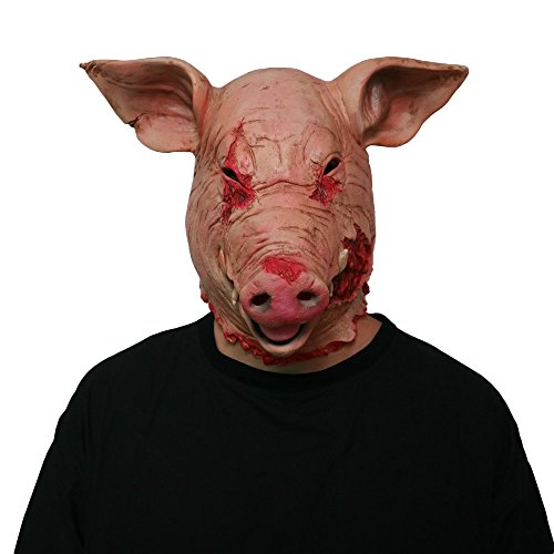 HAOSUN Halloween Horror Mask Masquerade Pig Head Mask Animal Cosplay Costume The Latex Mask]()