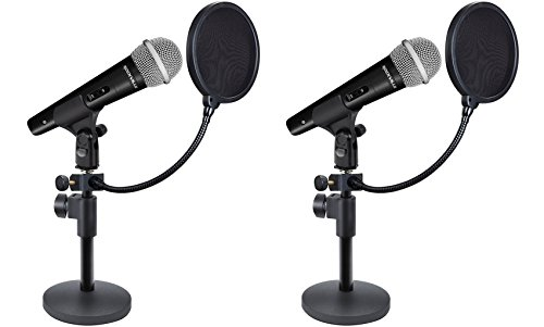 High End Pedestal - 2 Rockville Microphones+Desktop Stands+Pop Filters 4 Recording, Studio, Podcast