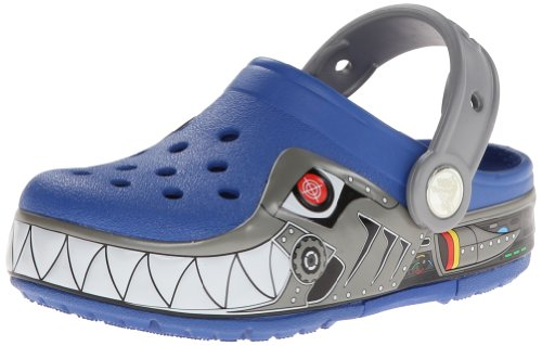 crocs Kids Robo Shark PS Light-up Clog (Toddler/Little Kid),Sea Blue/Silver,3 M US Little Kid by Crocs