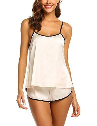 Ekouaer Womens Sexy Sleepwear Lingerie Satin Pajamas Cami Shorts Set Nightwear,15-beige,Small