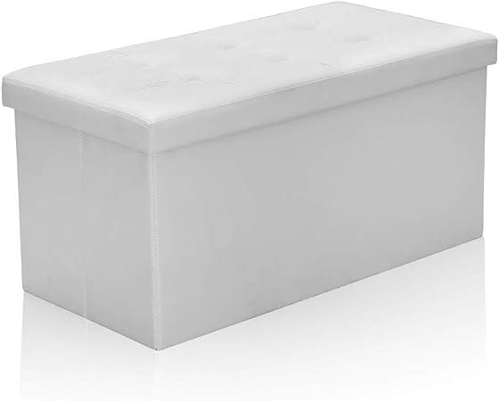 Hengda Taburete para almacenaje con almacenaje Caja Plegable, Tapa Desmontable, Asiento Acolchado de Piel sintética, 76 x 38 x 38 cm, Blanco: Amazon.es: Hogar