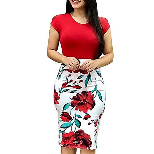 - Longay Fashion Women Sexy O-Neck Short Sleeve Splicing Flower Printing Buttock Dress (L, Red)