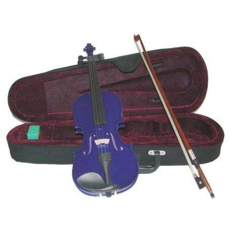 Merano MV300PR 1/10 Size Purple Violin with Case and Bow+Extra Set of String, Extra Bridge, Rosin