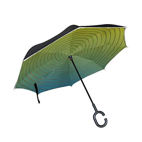 (Jnseff Double Layer Inverted Texture Structure Abstract Blue Yellow Umbrellas Reverse Folding Umbrella Windproof Uv Protection Big Straight Umbrella for Car Rain Outdoor with C-Shaped Handle)