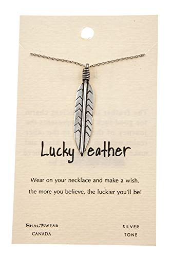 Shag Wear Make a Wish and Luck Inspirations Quote Pendant Necklace (Large Lucky Feather, Pendant) (Feather Pewter Pendant)