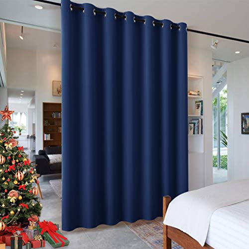 RYB HOME Decoration Extra Wide Blackout Curtain Blind Wall Panel, Energy Smart Privacy Shared Curtain for Cabinet/Workspace/Basement/Shelves, Wide 100 inch x Long 84 inch, Navy Blue, 1 Panel (Shelf Long Wall Foot 6)