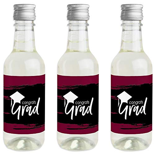 (Maroon Grad - Best is Yet to Come - Mini Wine and Champagne Bottle Label Stickers - Burgundy Graduation Party Favor Gift for Women and Men - Set of 16)