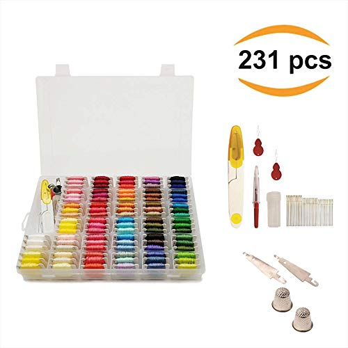 Artesannia Cross Stitch Kit for Embroidery and Thread with Storage Box Organizer, DMC Colors, 231 Pieces in Total, Friendship Bracelet Floss with 96 Colorful String, Hand Embroidery + Free EBOOK