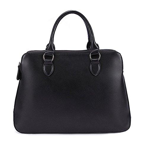 The Seventh Double Compartment Shoulder Bag, Leather Large Ladies Top Handle Satchel Tote Bag Purse Crossbody Bag Handbag Black by The Seventh