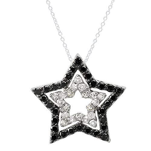 0.42 Carat (ctw) 10K Round Black & White Diamond Ladies Double Star Pendant, White Gold (0.42 Ct Round Diamond)
