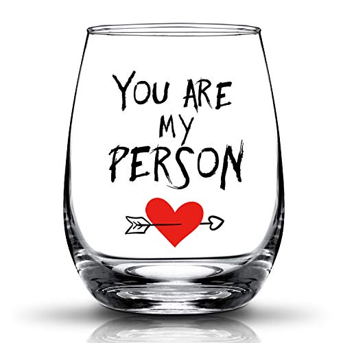 JERIO You're My Person Gift For Best Friend BFF Gifts Birthday Gifts for Girlfriend, Woman Her,Wife 15oz Stemless Wine Glass