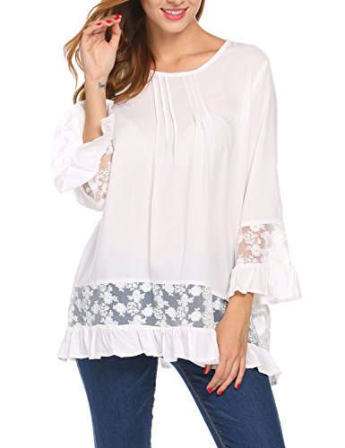 Sweetnight Womens Casual 3/4 Sleeve Shirts Crew Neck Lace Tops Ruffle Hem Bell Sleeve Blouse (White, S) (Top Ruffles Lace Blouse)